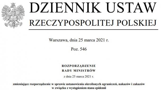 Dziennik Ustaw_Obostrzenia_25.03
